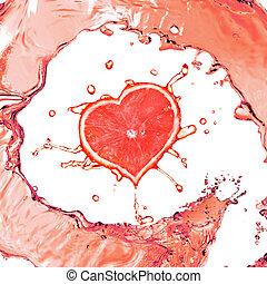 grapefrukt, i forma, av, hjärta, och, juice, plaska,...