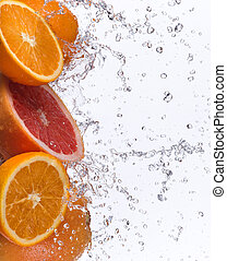 grapefrukt, med, vatten, plaska