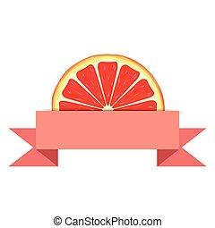 grapefrukt, skiva, med, papper, baner