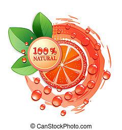 grapefrukt, skiva, röd