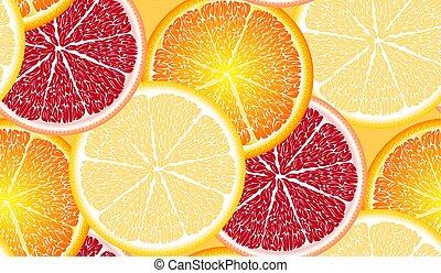 grapeprut, tranches, citrus, citron, clair, seamless, mûre, grand, orange, juteux, modèle, chaux, coloré