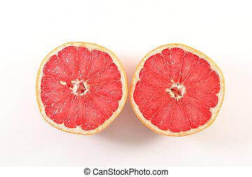 graperfuit, blanco, mitad, fondo rojo, aislado