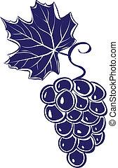 grapes., ベクトル, イラスト, 束