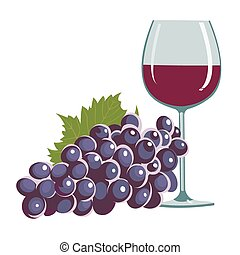 grapes and a wine glass - vector illustration