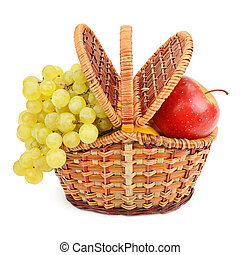 grapes and apples in the basket