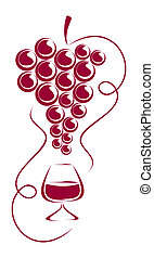 Grapes and wine glass. - Grapes and wine glass form a...