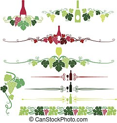 Grapes and wine Ornaments Set