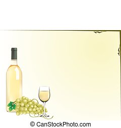 grapes and wine - vector grapes, wine bottle and glas...