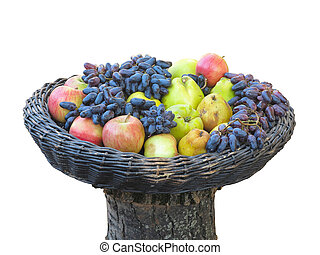 Grapes, apples, pears, quince in basket on tree trunk isolated