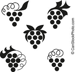 Grapes - Black emblems of grapes on a white background