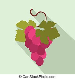 Grapes bunch icon, flat style