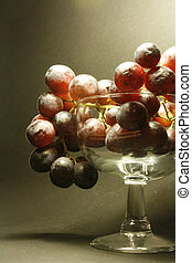 grapes Bunch of grapes in a glass cup