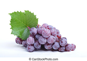 Cluster of grapes on white background - close up