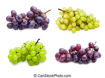 Grapes - Collection of grapes isolated on white background