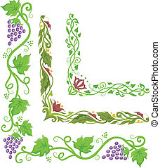 Grapes Corner Border - Corner Border Illustration of...