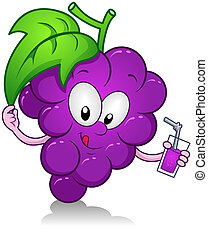 Grapes Drink - Illustration of a Grape Character Holding a...