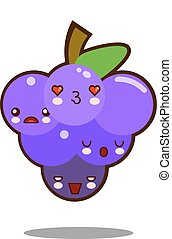 grapes fruit cartoon character icon kawaii Flat design Vector
