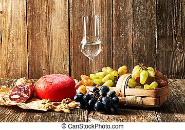Grapes, grappa and cheese - Fresh grapes, grappa and cheese ...