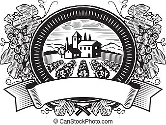Grapes harvest label in woodcut style. Black and white vector illustration.