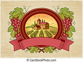 Grapes harvest label in woodcut style. Vector illustration.