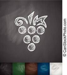 grapes icon. Hand drawn vector illustration. Chalkboard...