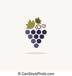 Grapes. Icon with shadow on a beige background. Fruit vector illustration