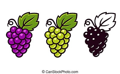 Grapes icons set