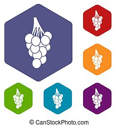 Grapes icons set hexagon