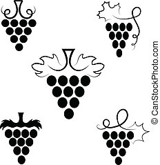 Grapes  - The stylized branch of grapes with leaves
