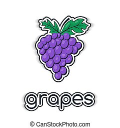 Grapes in a flat style. The icon,  symbol of the fruit