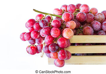 Grapes in wooden crates