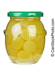 Grapes marinated in glass jar
