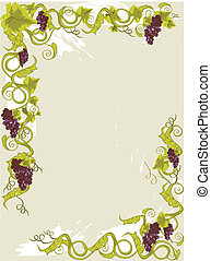 Grapes menu card with vines with leaves.