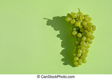 Grapes on a green background. Bunch. Natural sunlight.