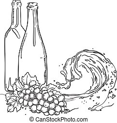 Grapes on wave juice. hand drawn sketch illustration
