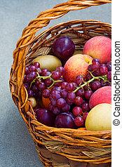 Grapes, peach, plums, harvest