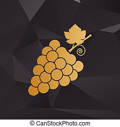 Grapes sign illustration. Golden style on background with polygons.