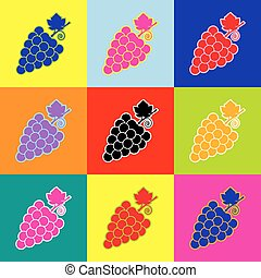 Grapes sign illustration. Vector. Pop-art style colorful icons set with 3 colors.