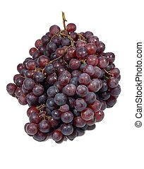 Grapes - A cluster of red grapes isolated on a white...