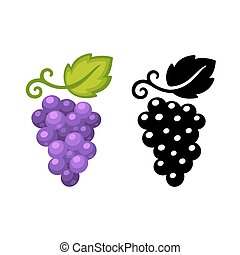 Grapes symbol in black and color