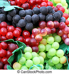 Grapes - Three kinds of grapes fruit close up