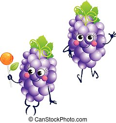 Grapes, vector character on a white background.
