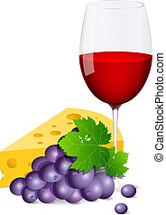 Grapes - Vector wine glass with grapes and cheese