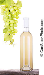 grapes white wine and a bottle isolated