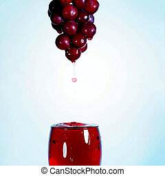 Trickle-down grape juice glass