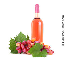 grapes with leaf and rose wine bottle isolated on white