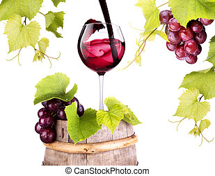 grapes with wine glass and wooden vintage barrel isolated on...