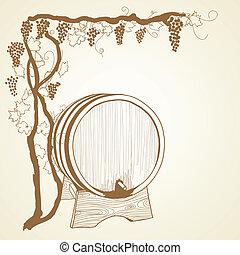 grapevine and barrel as vintage illustration
