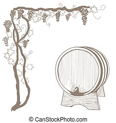 grapevine and barrel vintage illustration on white. vector