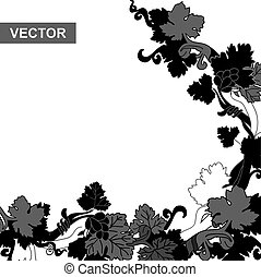 Grapevine black corner frame with white background